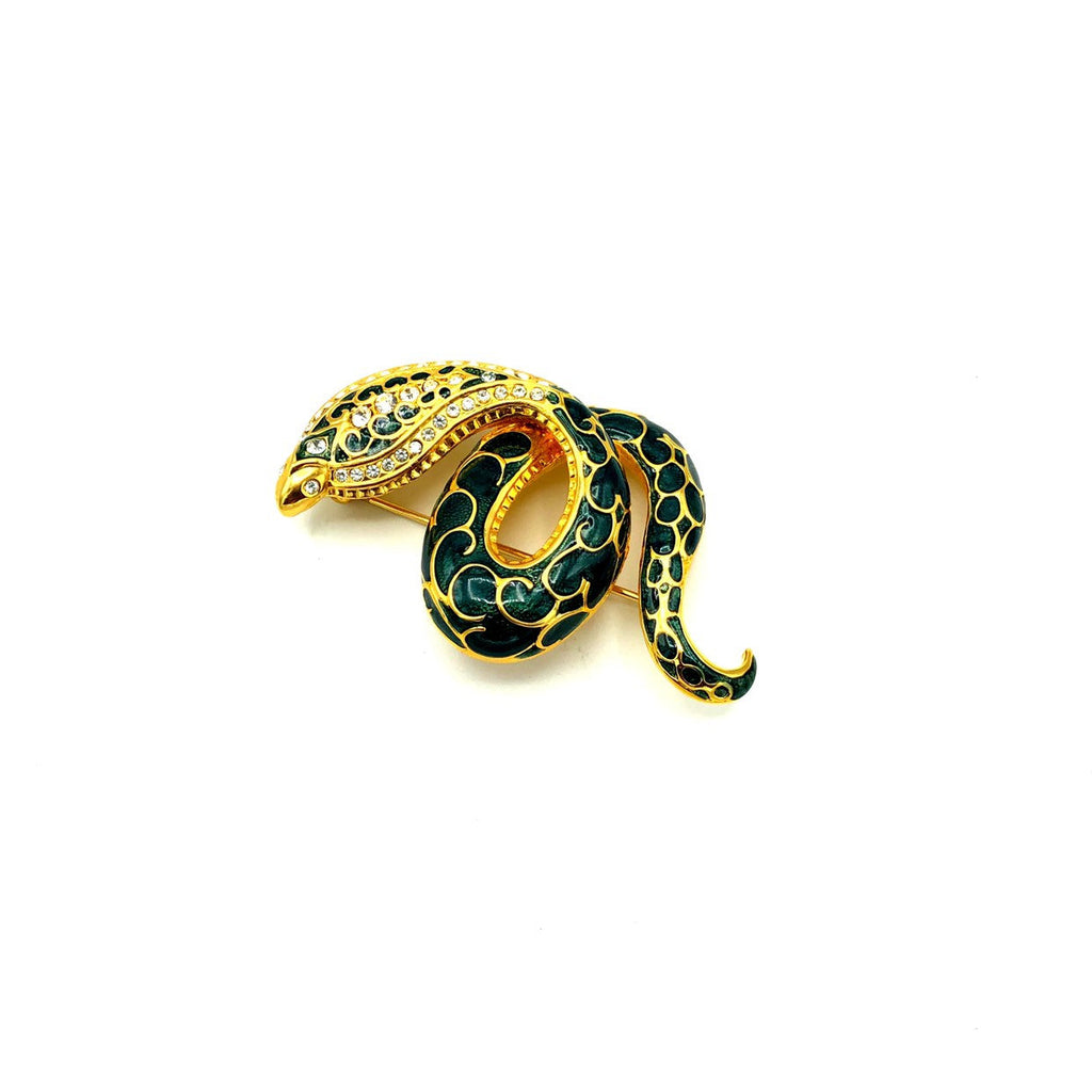 update alt-text with template Joan Rivers Green Enamel Cobra Snake Vintage Brooch-Brooches & Pins-Joan Rivers-[trending designer jewelry]-[joan rivers jewelry]-[Sustainable Fashion]