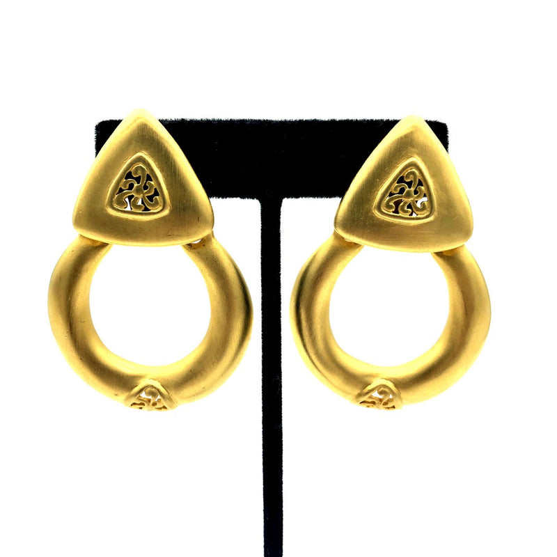 Givenchy Matt Gold Door Knocker Vintage Earrings-Earrings-Givenchy-[trending designer jewelry]-[givenchy jewelry]-[Sustainable Fashion]