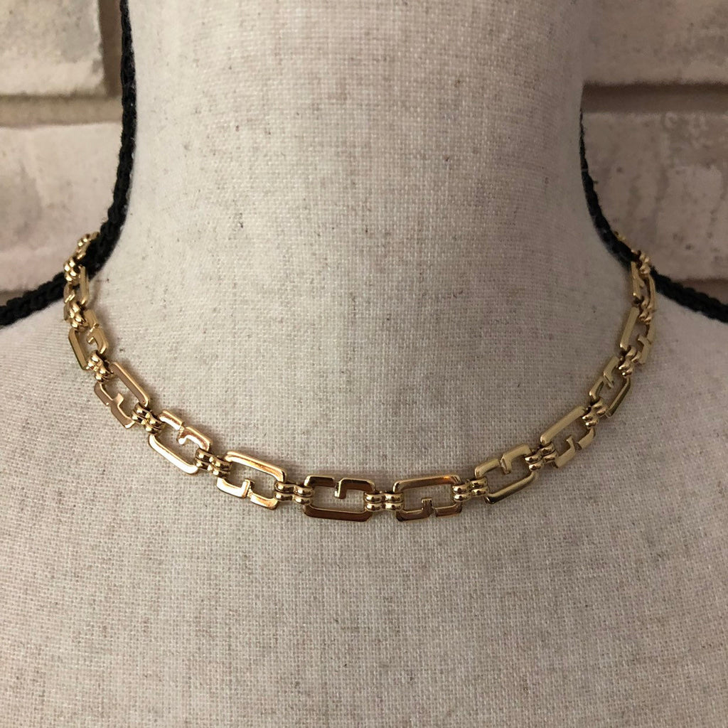 "Gold Classic Givenchy Logo 16"" Chain Necklace"