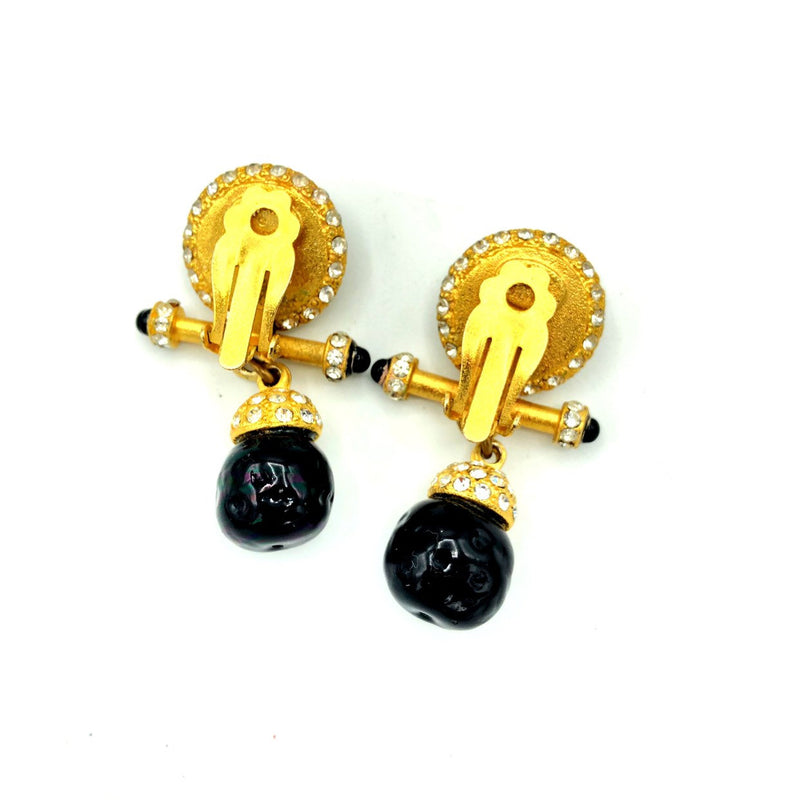 Vintage Gold Roxanne Assoulin Black Dangle Statement Earrings-Sustainable Fashion with Vintage Style-Trending Designer Fashion-24 Wishes