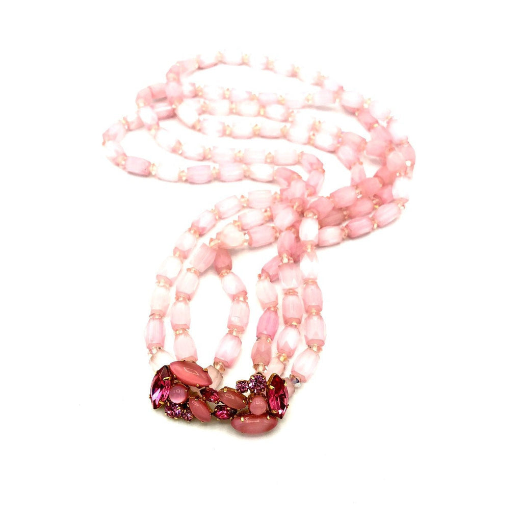 Vintage Pink Cut Glass Beads Rhinestone Layered Necklace by Valjean