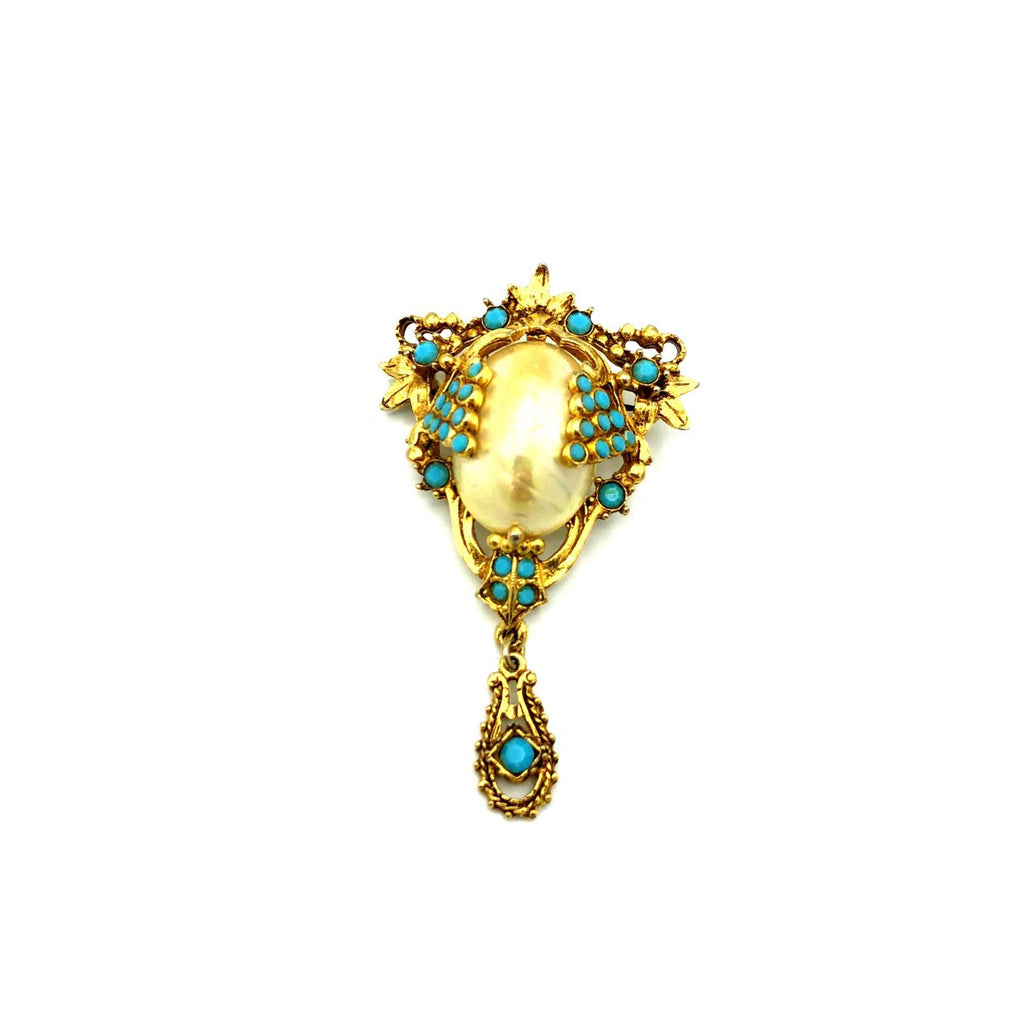 Florenza White Pearl & Turquoise Victorian Revival Vintage Brooch