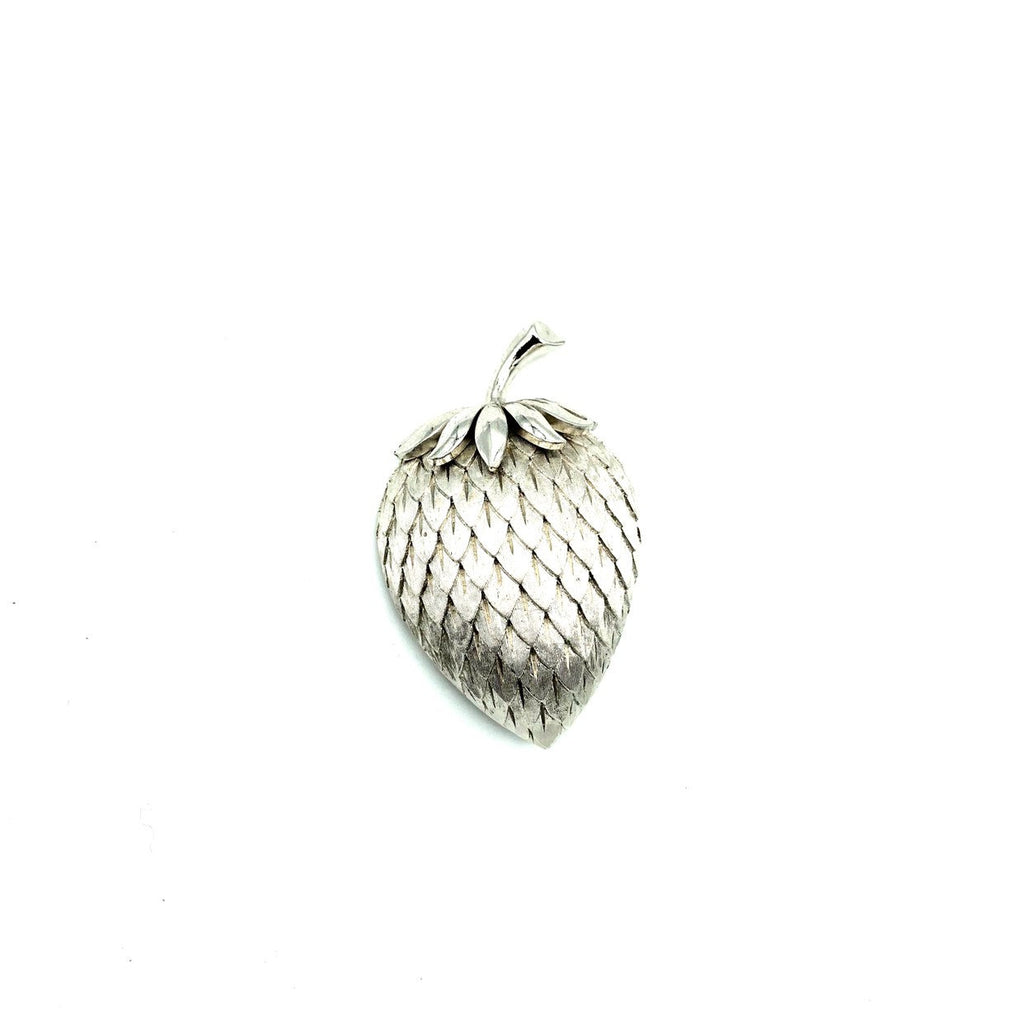 Vintage Trifari Classic Silver Strawberry Brooch-Sustainable Fashion with Vintage Style-Trending Designer Fashion-24 Wishes