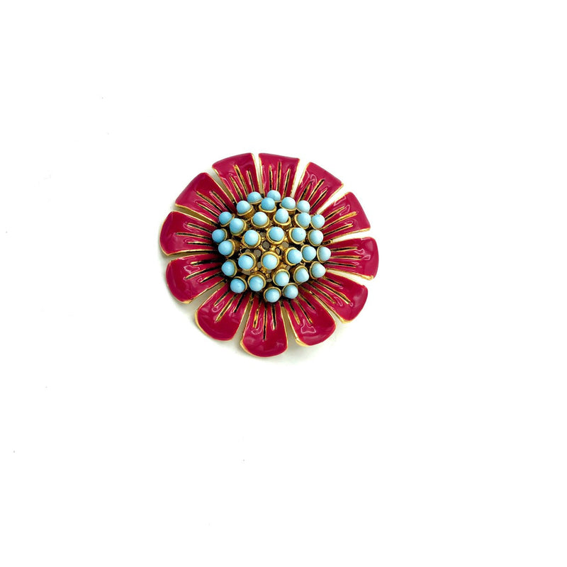 Pink Enamel Flower Vintage Brooch-Sustainable Fashion with Vintage Style-Trending Designer Fashion-24 Wishes
