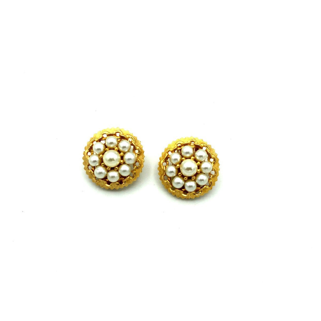 Kramer Gold Pearl Classic Vintage Button Earrings
