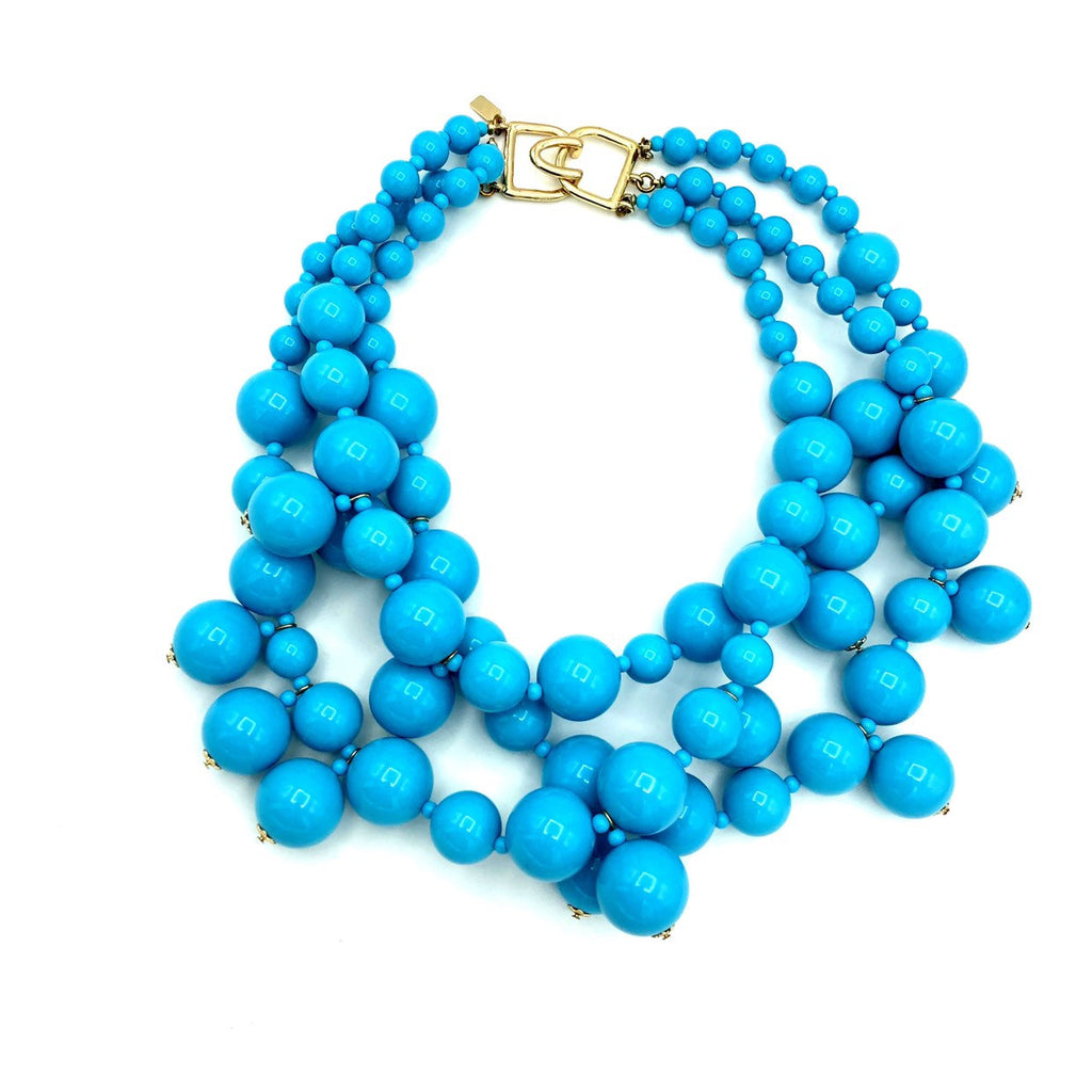 Kenneth Jay Lane Chunky Layered Turquoise Blue Bead Necklace