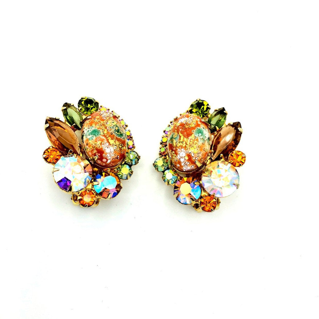 Juliana Delizza and Elster Orange With Green Rhinestone Statement Earrings-Sustainable Fashion with Vintage Style-Trending Designer Fashion-24 Wishes