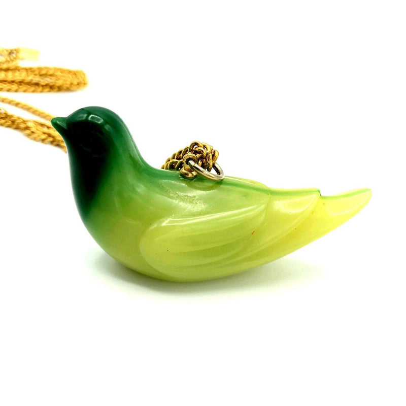 Kenneth Jay Lane Gold Jade Green Lucite Bird Vintage Pendant