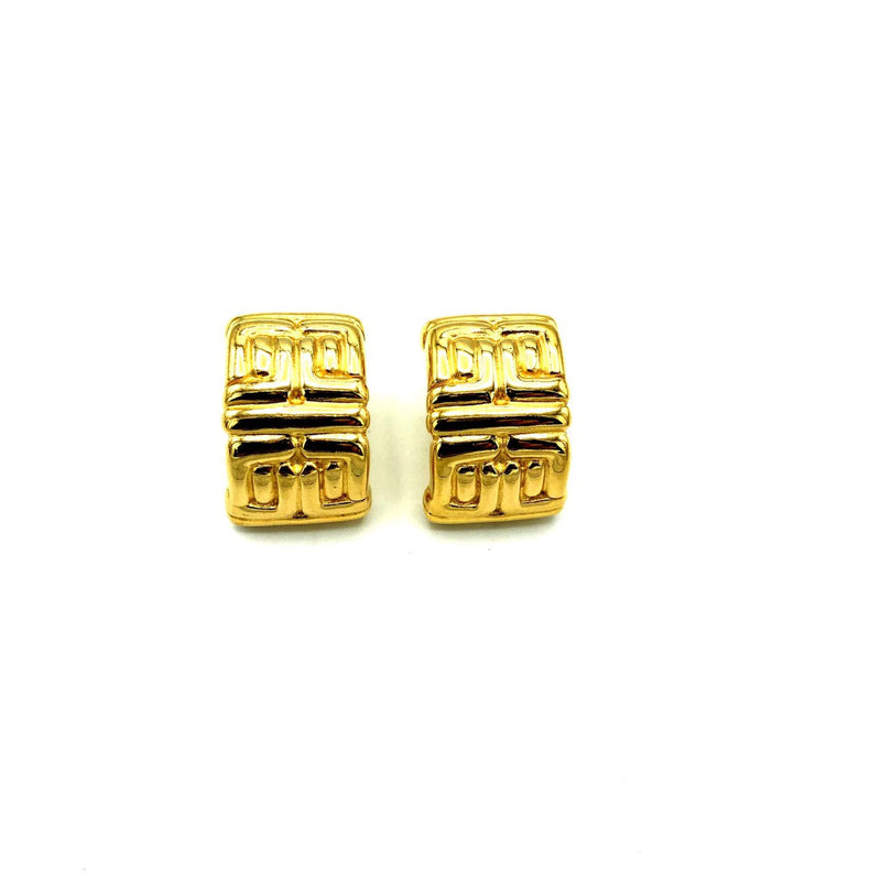 Givenchy Gold Logo Vintage Half Hoop Earrings-Earrings-Givenchy-[trending designer jewelry]-[givenchy jewelry]-[Sustainable Fashion]
