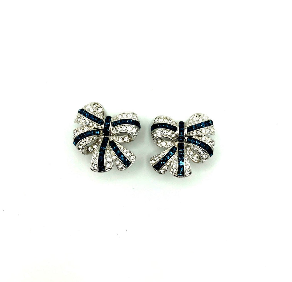 Nolan Miller Silver Bow Rhinestone Vintage Earrings-Sustainable Fashion with Vintage Style-Trending Designer Fashion-24 Wishes