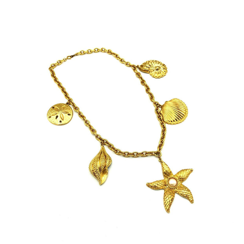 Kenneth Jay Lane Classic Gold Shell & Starfish Charm Chain Necklace