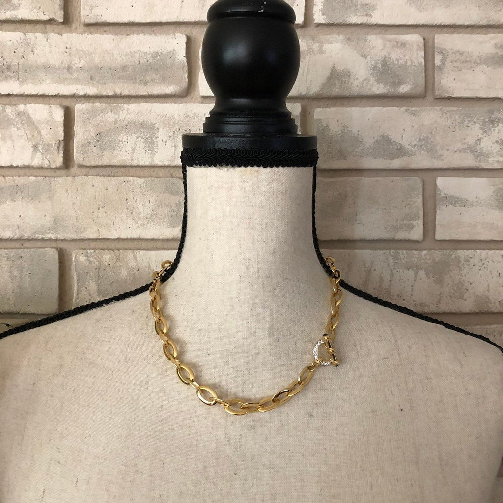 Nolan Miller Gold Classic Chain Rhinestone Toggle Closure-Sustainable Fashion with Vintage Style-Trending Designer Fashion-24 Wishes