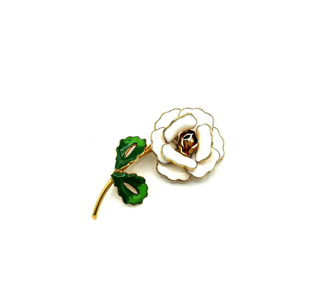 White Enamel Long Stem Flower Vintage Brooch