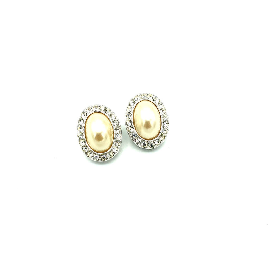 Kenneth Jay Lane Silver Rhinestone Pearl Vintage Earrings-Sustainable Fashion with Vintage Style-Trending Designer Fashion-24 Wishes