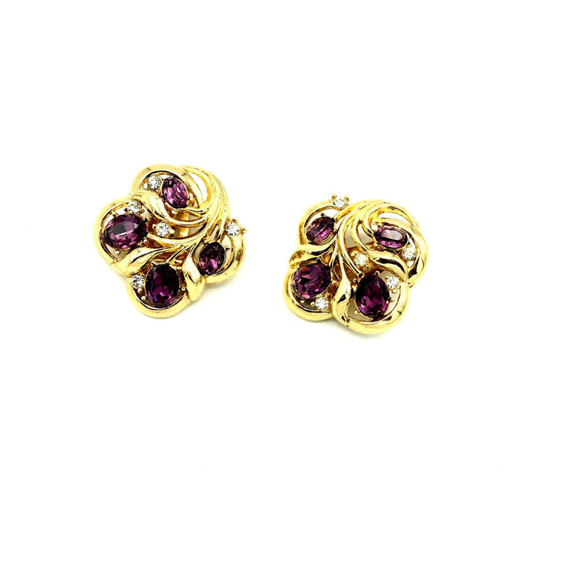 update alt-text with template Crown Trifari Amethyst Purple Vintage Earrings-Earrings-Trifari-[trending designer jewelry]-[trifari jewelry]-[Sustainable Fashion]
