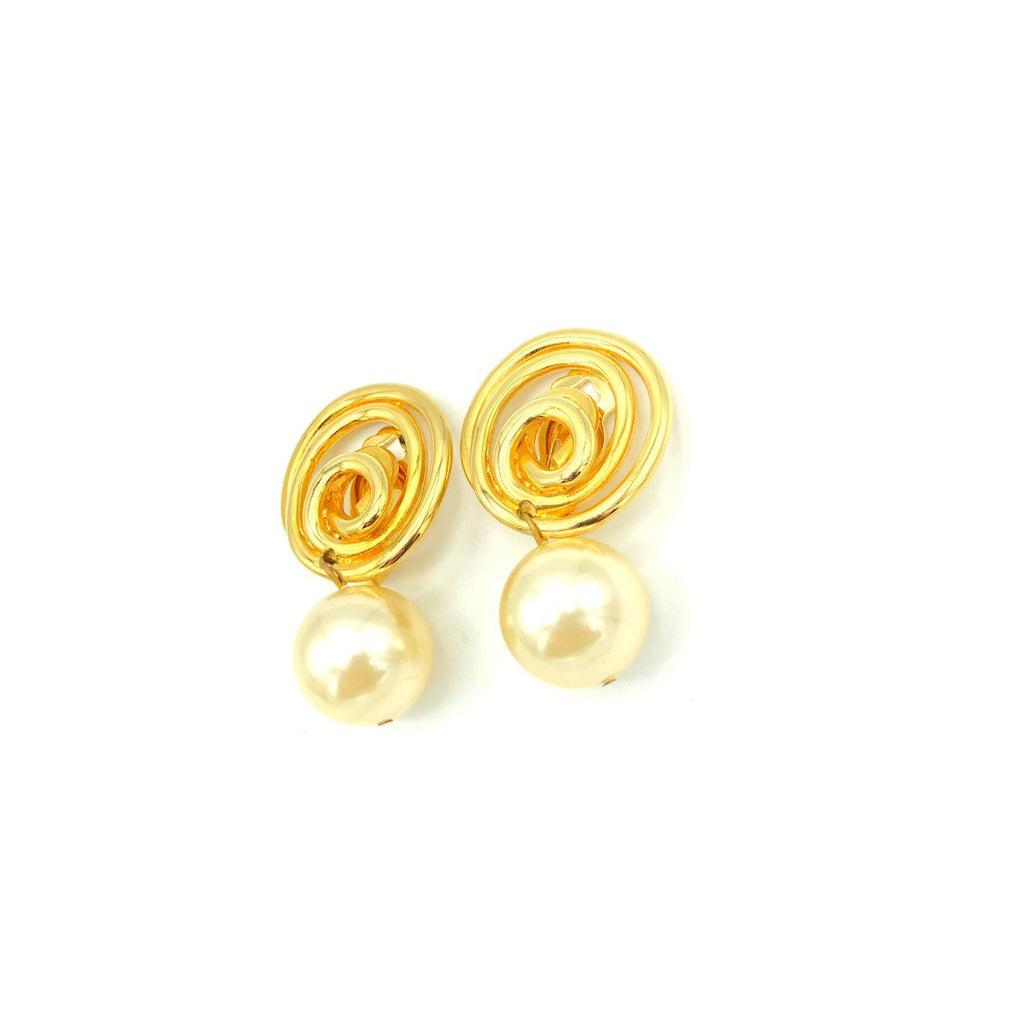 Vintage White Pearl Drop Swirl Earrings By Norma Jean