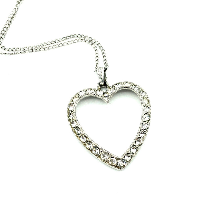 Bogoff Silver Open Heart Rhinestone Pendant-Sustainable Fashion with Vintage Style-Trending Designer Fashion-24 Wishes