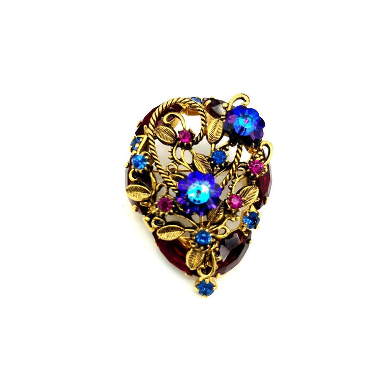 Pink & Blue Rhinestone Floral Vintage Brooch-Sustainable Fashion with Vintage Style-Trending Designer Fashion-24 Wishes