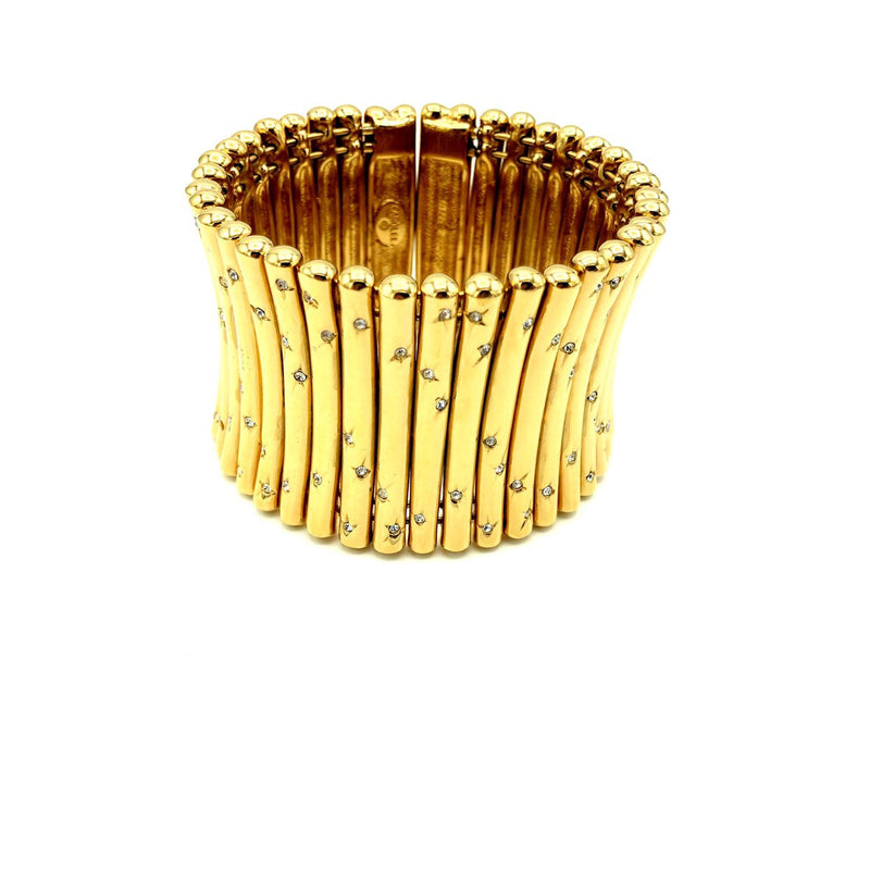 Carolee Gold Rhinestone Stars Flexible Wide Cuff Bracelet-Sustainable Fashion with Vintage Style-Trending Designer Fashion-24 Wishes