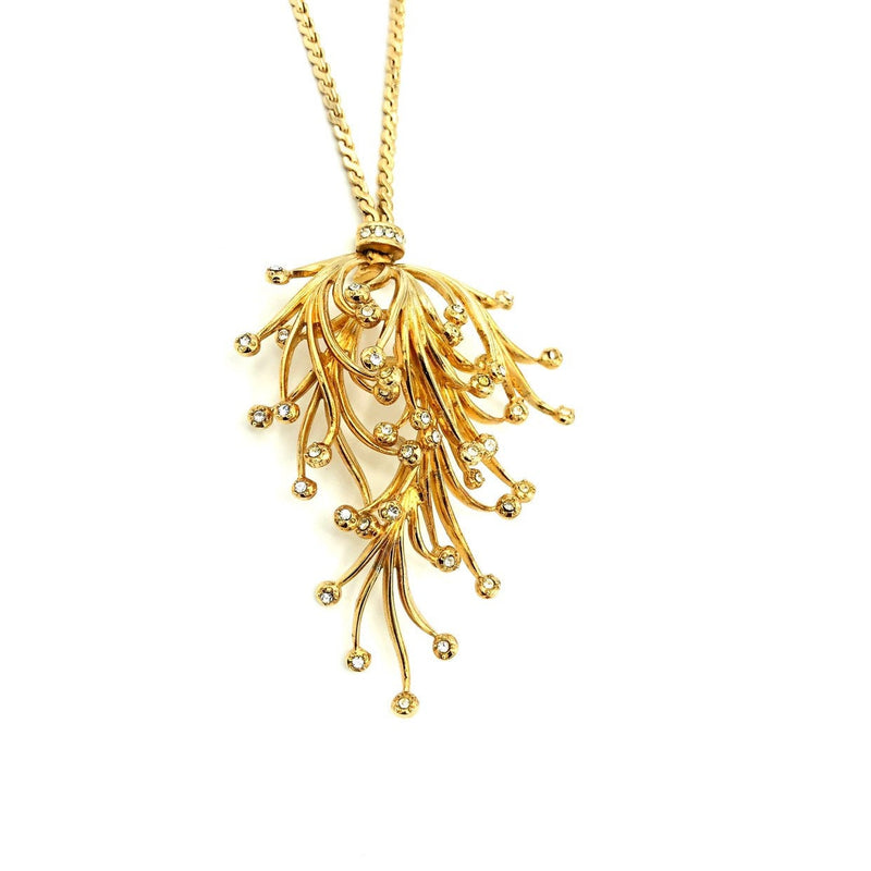 Grosse Gold Floral Waterfall Rhinestone Vintage Pendant-Sustainable Fashion with Vintage Style-Trending Designer Fashion-24 Wishes