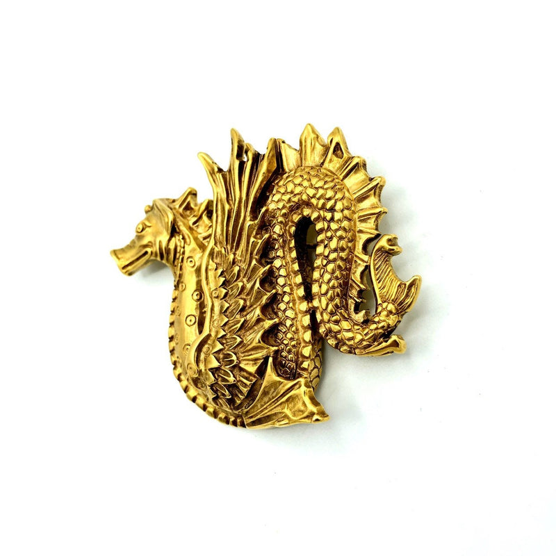 Gold MMA Sea Serpent Dragon Brooch or Pendant-Sustainable Fashion with Vintage Style-Trending Designer Fashion-24 Wishes