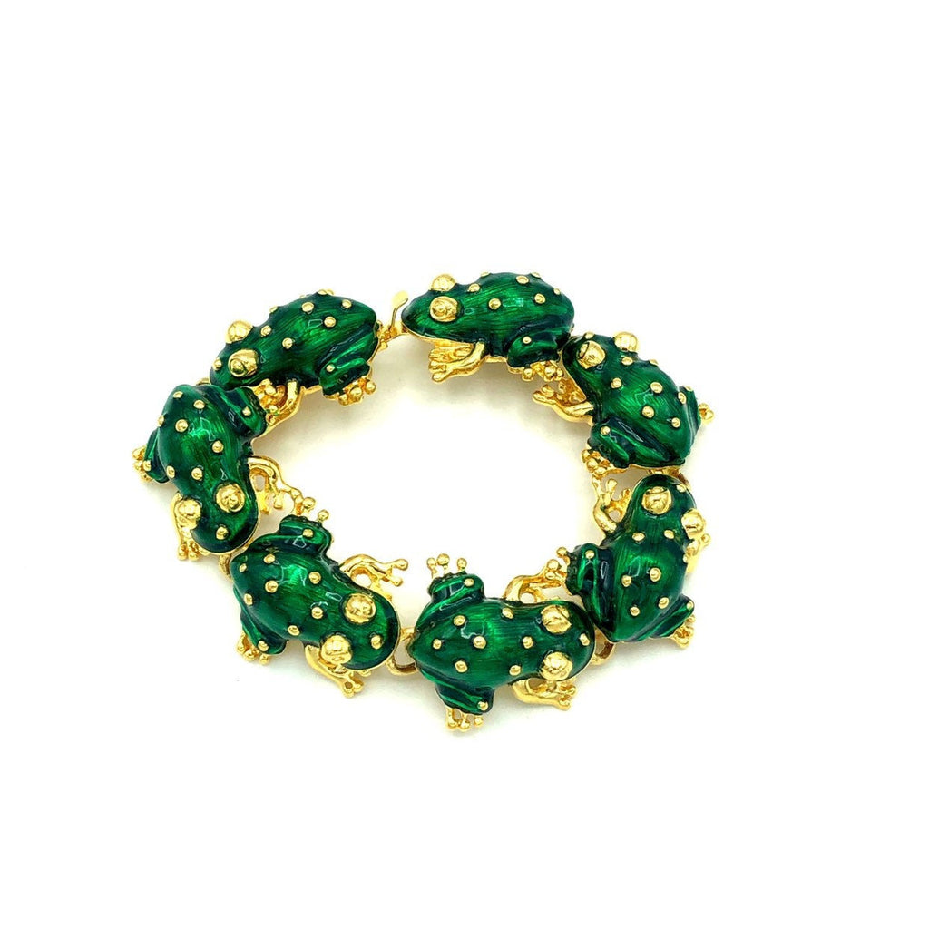 update alt-text with template Kenneth Jay Lane Green Enamel Frog Link Bracelet-Bracelets-Kenneth Jay Lane-[trending designer jewelry]-[kenneth jay lane KJL jewelry]-[Sustainable Fashion]