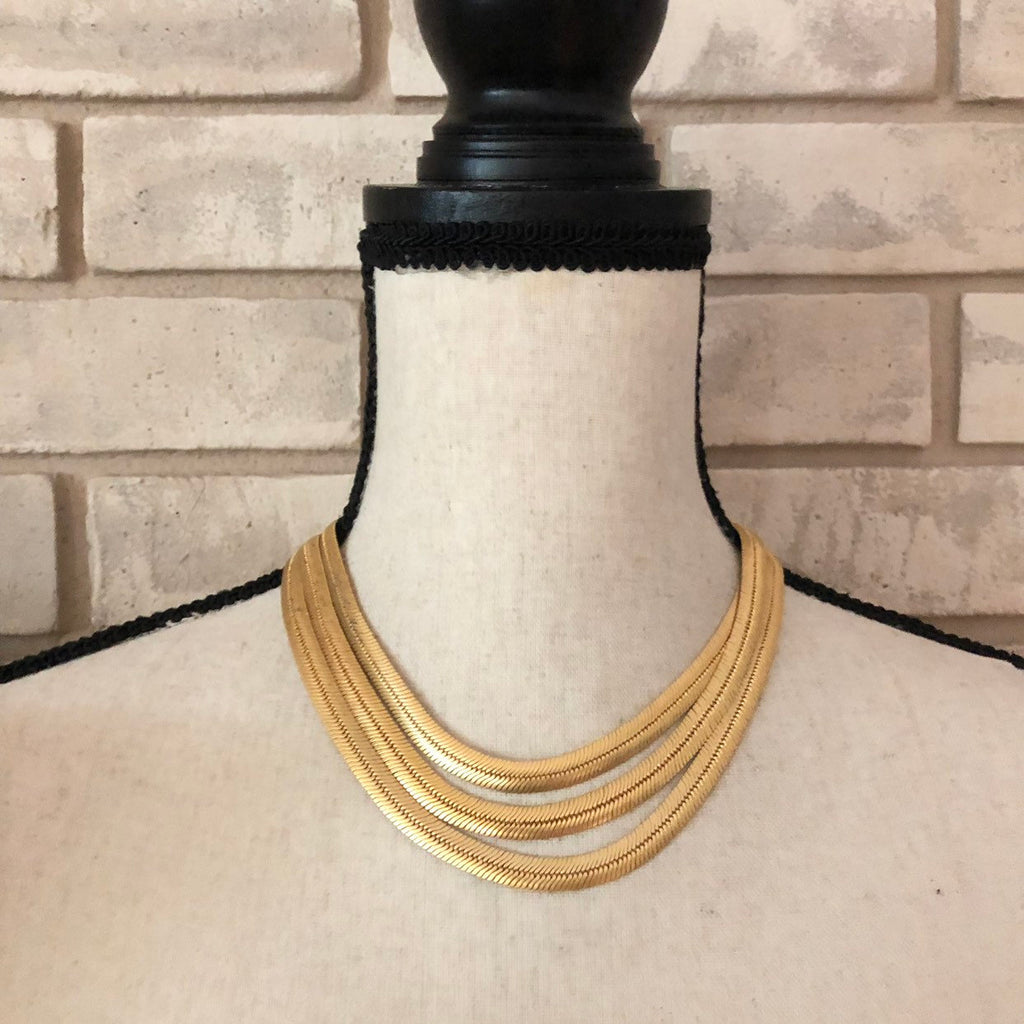 Givenchy Heavy Matt Gold Three Chain Vintage Necklace-Necklaces & Pendants-Givenchy-[trending designer jewelry]-[givenchy jewelry]-[Sustainable Fashion]