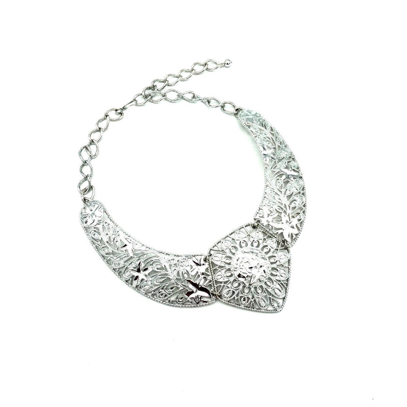 Jose Maria Barrera Silver Filigree Style Bib Statement Pendant-Sustainable Fashion with Vintage Style-Trending Designer Fashion-24 Wishes