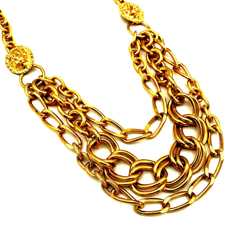 Gerard Yosca Gold Lion Multiple Chain Vintage Pendant-Sustainable Fashion with Vintage Style-Trending Designer Fashion-24 Wishes