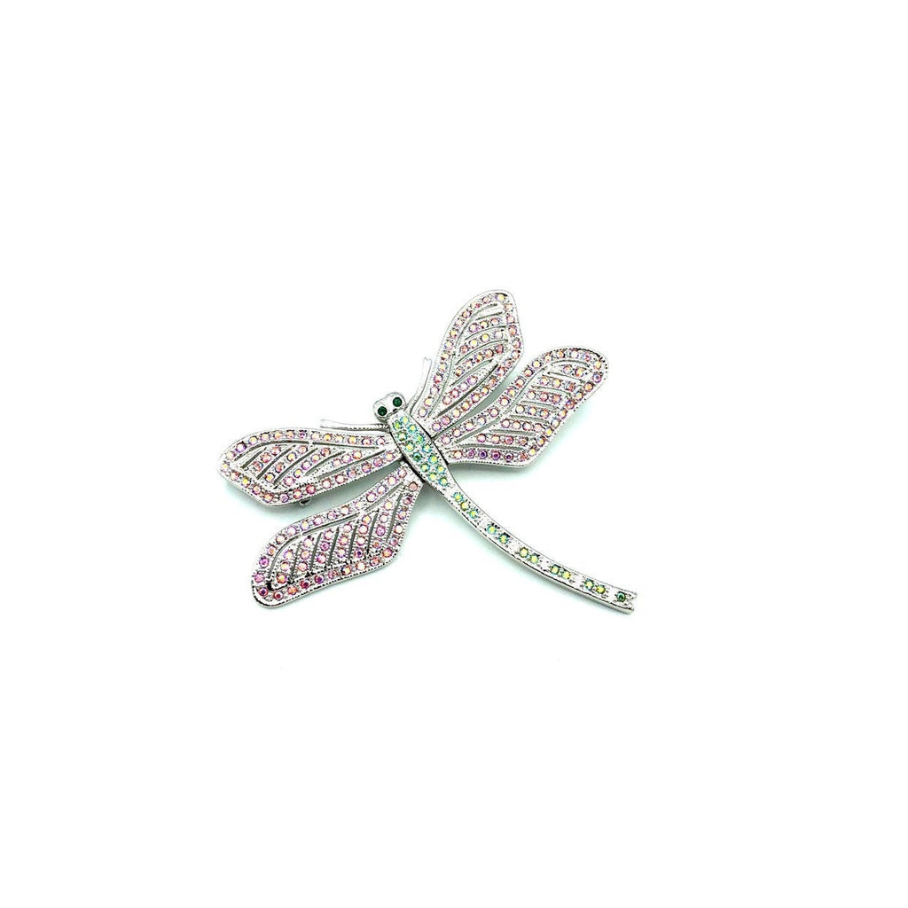 Camrose & Kross JBK Large Silver Dragonfly Pink Rhinestone Brooch-Sustainable Fashion with Vintage Style-Trending Designer Fashion-24 Wishes