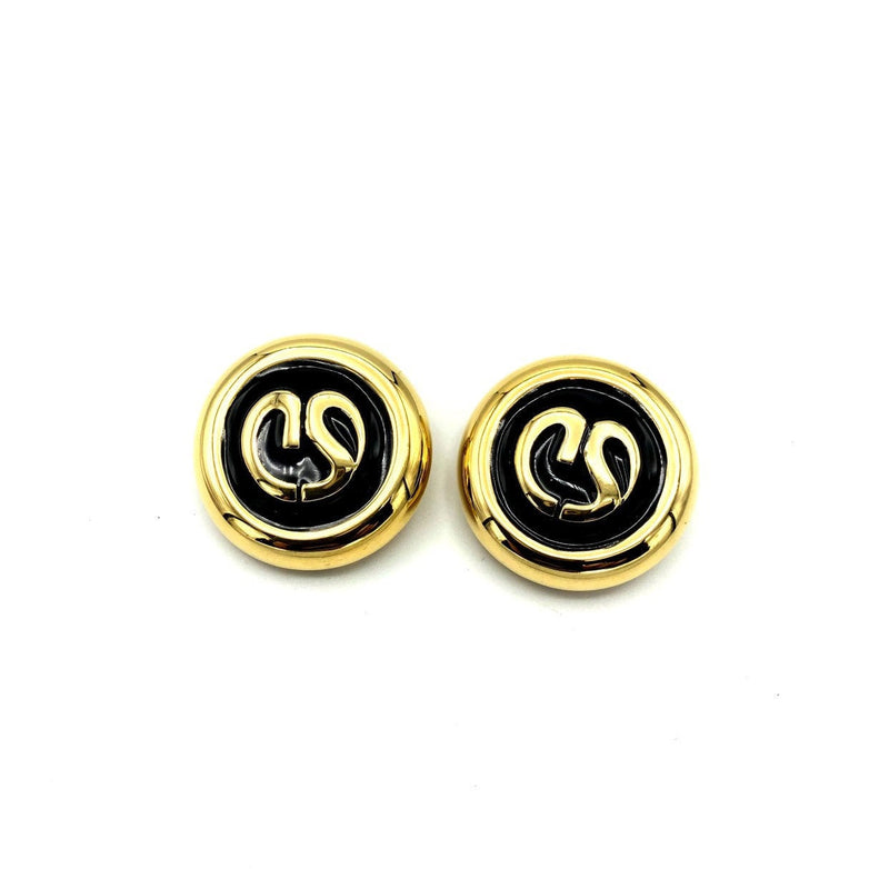 Vintage Gold & Black Enamel St. John Round Logo Vintage Earrings-Sustainable Fashion with Vintage Style-Trending Designer Fashion-24 Wishes