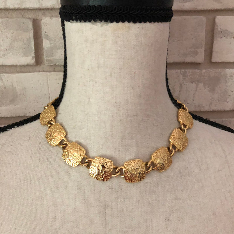 Anne Klein Classic Gold Lion Logo Link Vintage Necklace-Sustainable Fashion with Vintage Style-Trending Designer Fashion-24 Wishes