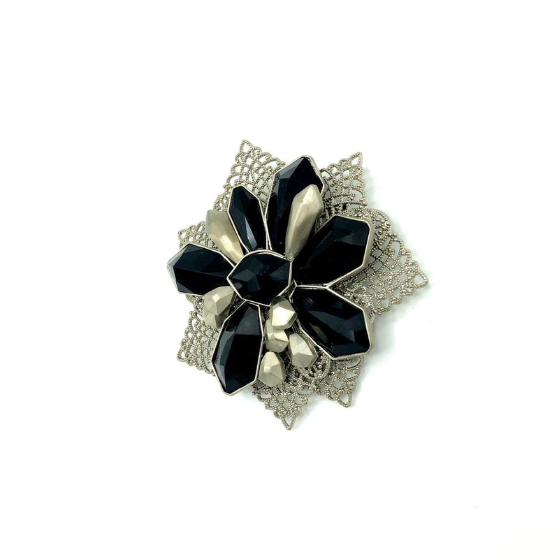 Givenchy Silver & Black Filigree Floral Vintage Brooch-Brooches & Pins-Givenchy-[trending designer jewelry]-[givenchy jewelry]-[Sustainable Fashion]