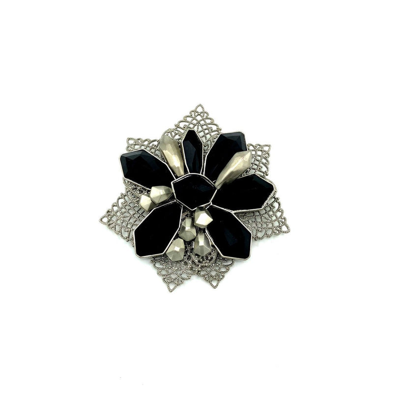 Givenchy Silver & Black Filigree Floral Vintage Brooch