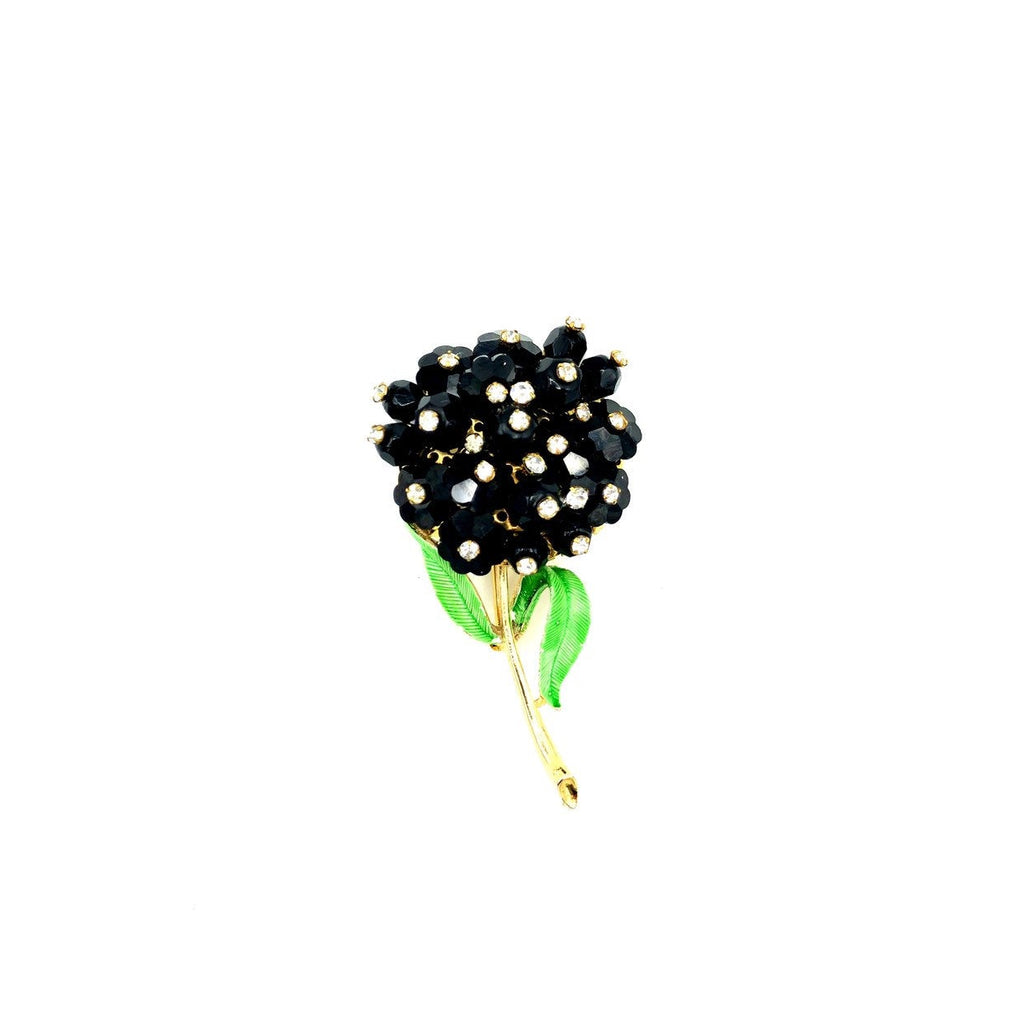 Long Stem Flower Black & White Rhinestone Vintage Brooch