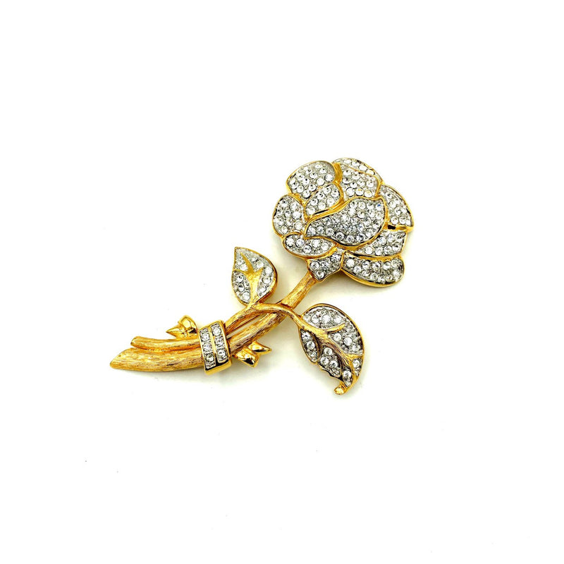 Classic Gold Pave Rhinestone Flower Nolan Miller Brooch