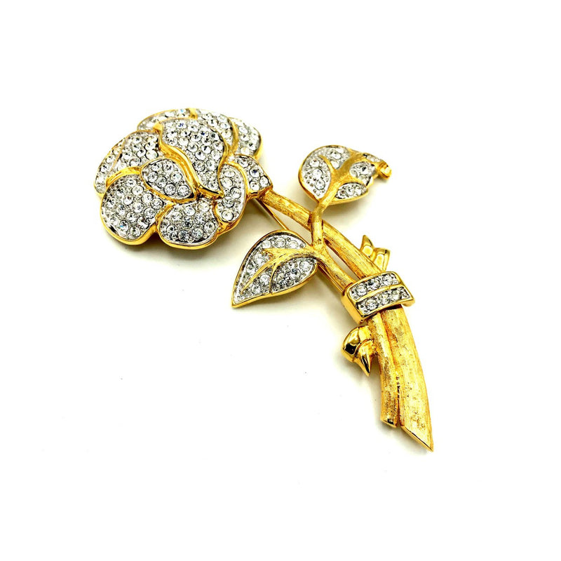 Classic Gold Pave Rhinestone Flower Nolan Miller Brooch-Sustainable Fashion with Vintage Style-Trending Designer Fashion-24 Wishes