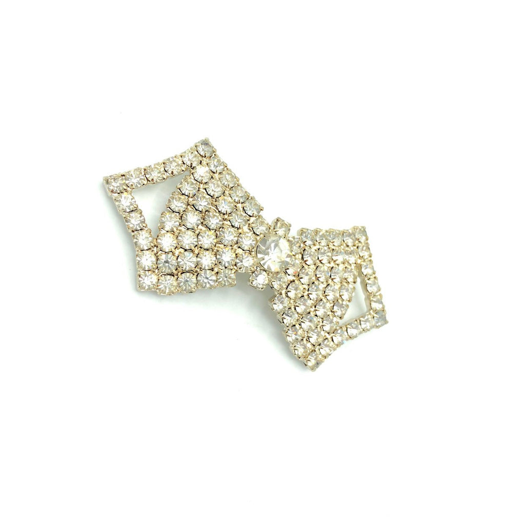 White Rhinestone Diamante Bow Tie Vintage Brooch-Sustainable Fashion with Vintage Style-Trending Designer Fashion-24 Wishes