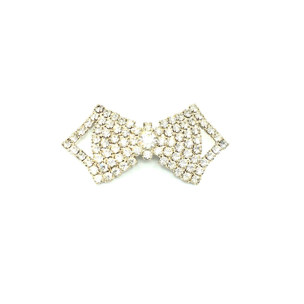 White Rhinestone Diamante Bow Tie Vintage Brooch