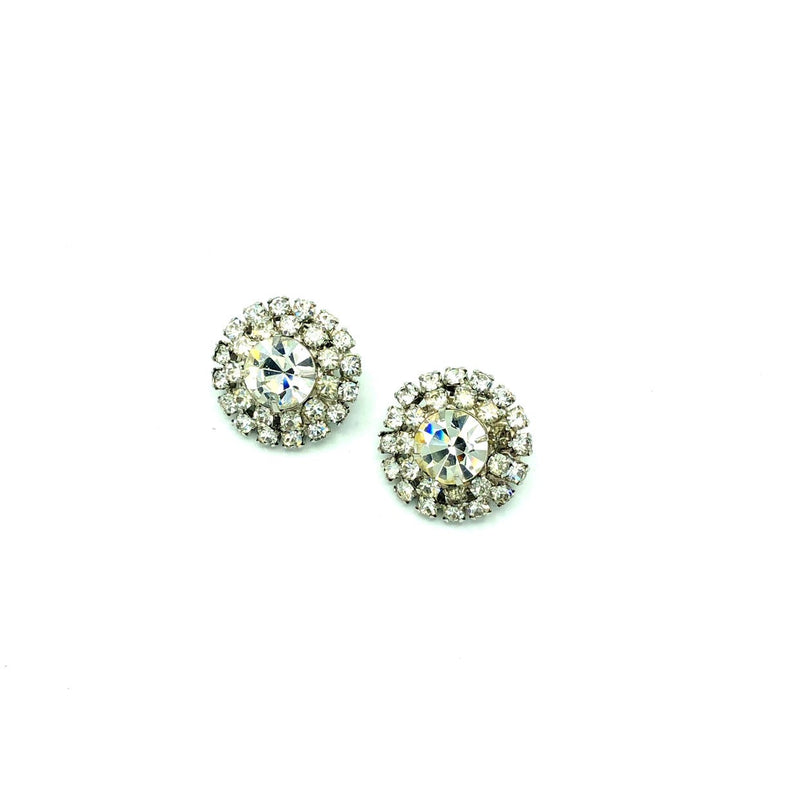Weiss Petite Diamante Rhinestone Round Earrings-Sustainable Fashion with Vintage Style-Trending Designer Fashion-24 Wishes