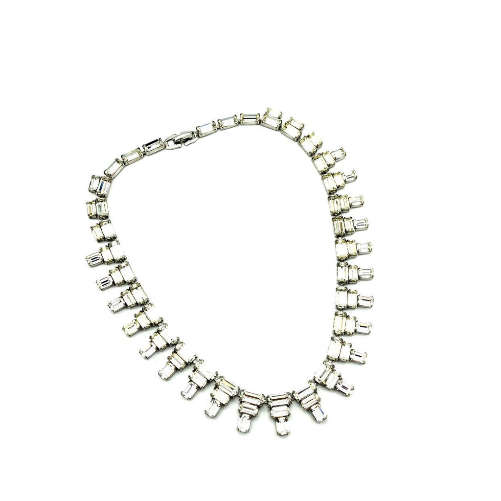 Vintage Silver Art Deco Style Diamante Statement Necklace