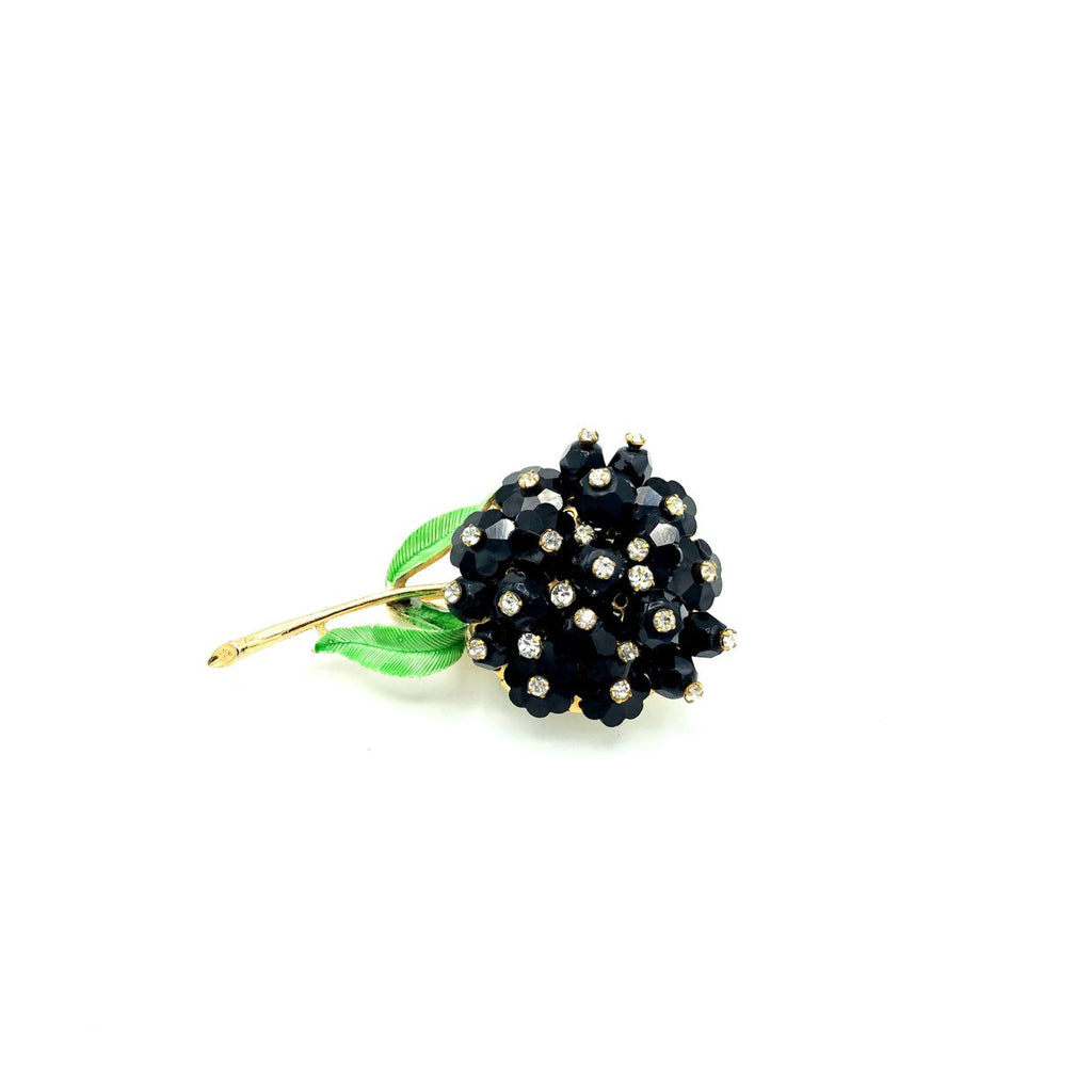 Long Stem Flower Black & White Rhinestone Vintage Brooch-Sustainable Fashion with Vintage Style-Trending Designer Fashion-24 Wishes