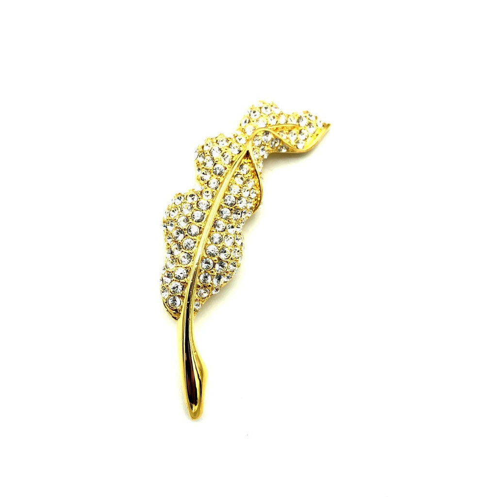 Vintage Gold Napier Pave Rhinestone Feather Brooch