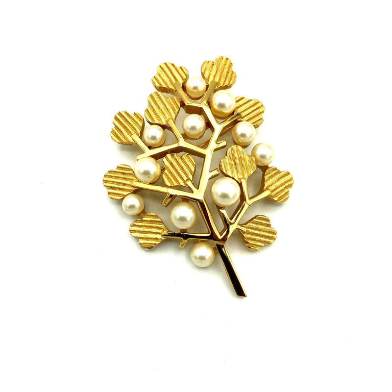 update alt-text with template Gold Crown Trifari Textured Tree Pearl Vintage Brooch-Brooches & Pins-Trifari-[trending designer jewelry]-[trifari jewelry]-[Sustainable Fashion]