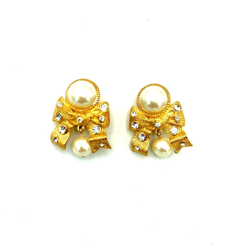 Marvella Pearl Gold Ribbon Rhinestone Vintage Earrings-Sustainable Fashion with Vintage Style-Trending Designer Fashion-24 Wishes