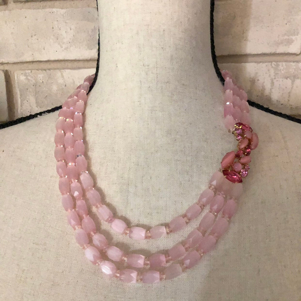 Vintage Pink Cut Glass Beads Rhinestone Layered Necklace by Valjean-Sustainable Fashion with Vintage Style-Trending Designer Fashion-24 Wishes