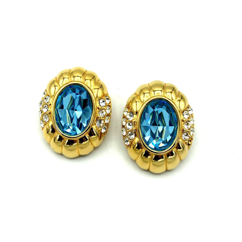 Gold Nolan Miller Blue Topaz Rhinestone Vintage Earrings-Sustainable Fashion with Vintage Style-Trending Designer Fashion-24 Wishes