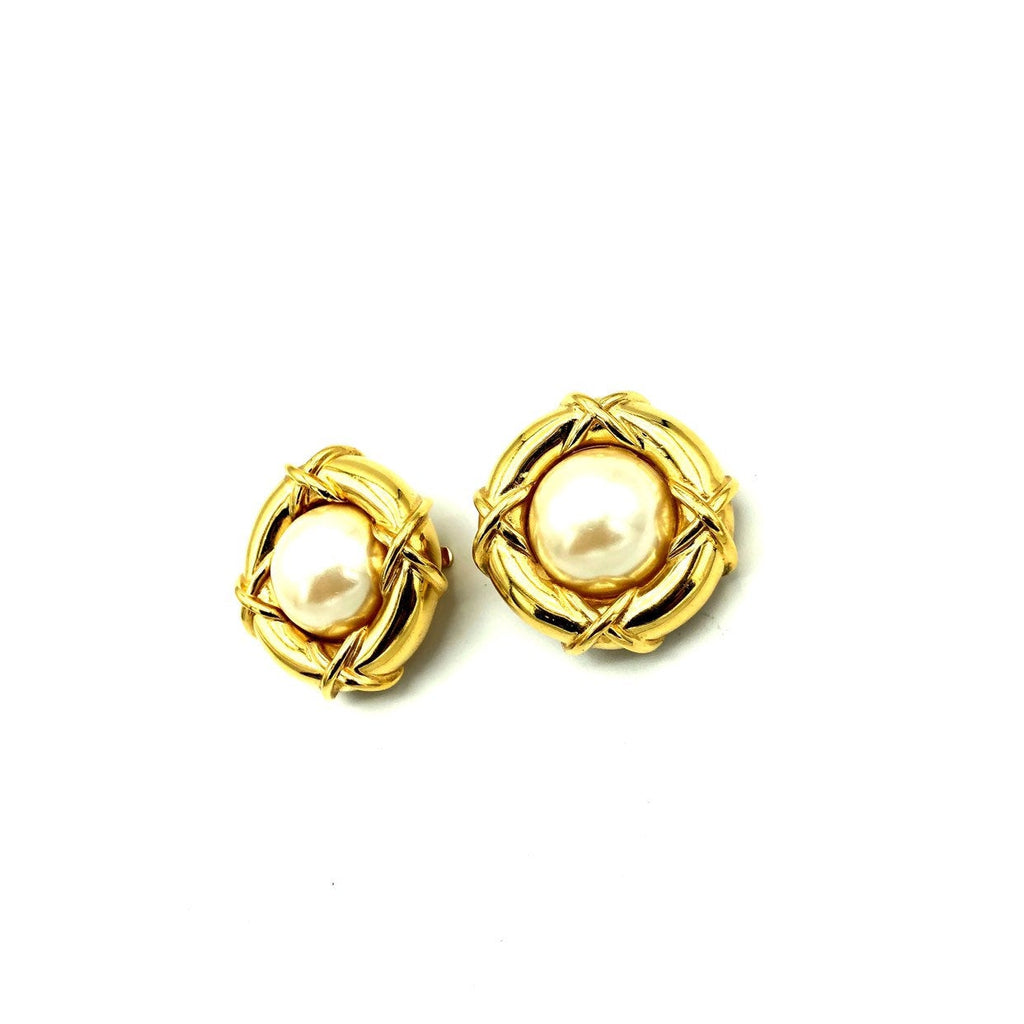 Vintage Gold Nested Pearl St. John Round Vintage Earrings