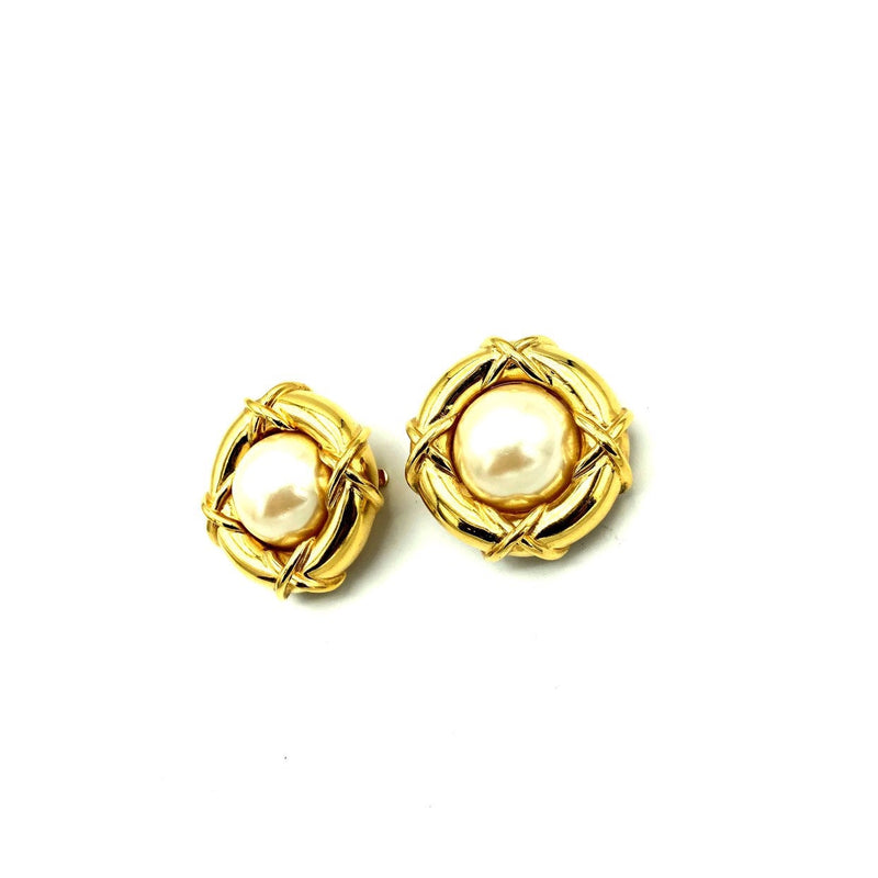 Vintage Gold Nested Pearl St. John Round Vintage Earrings-Sustainable Fashion with Vintage Style-Trending Designer Fashion-24 Wishes
