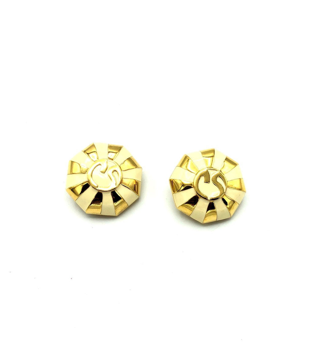 Vintage Gold & White Enamel St. John Logo Vintage Earrings